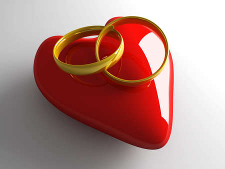 christian marriage: Marriage symbol. 3D rendered Illustration.
