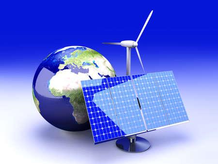 solar cell: 3D rendered Illustration.
