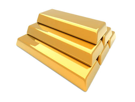 gold ingot: 3D rendered Illustration. Isolated on white.
