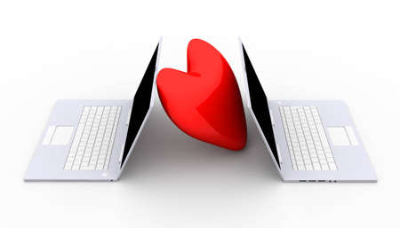 trackpad: 3D Illustration. 3D rendered Heart Shapes. Stock Photo