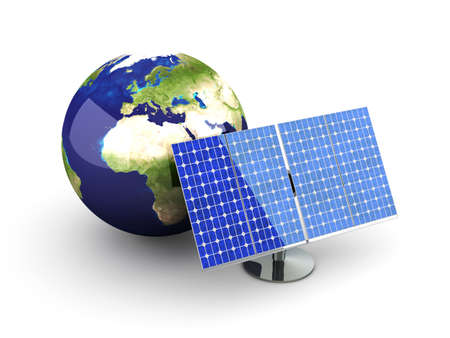 photovoltaic cell: 3D rendered Illustration. Isolated on white.