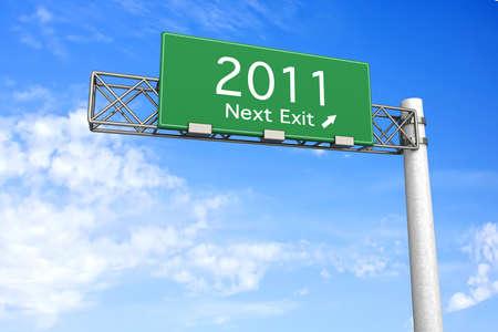 3D rendered Illustration. Highway Sign next exit 2011. Stock Illustration - 8266554