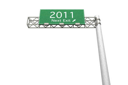 3D rendered Illustration. Highway Sign next exit 2011. Isolated on white. illustration