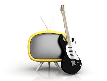 3D rendered Illustration. Isolated on white. Retro tube TV with an classic electric Guitar. illustration