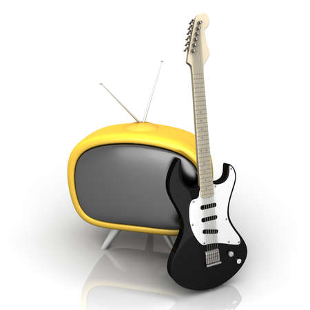 tele: 3D rendered Illustration. Isolated on white. Retro tube TV with an classic electric Guitar. Stock Photo