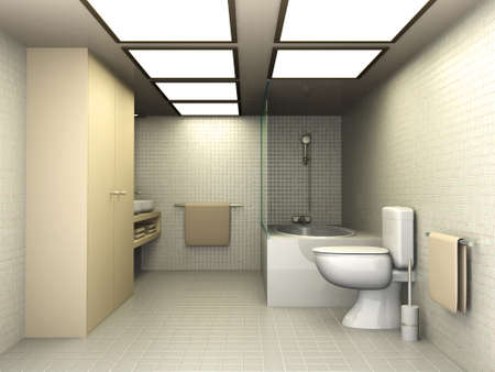 toilet bowl: 3D rendered Illustration. Modern Bathroom interior visualisation.