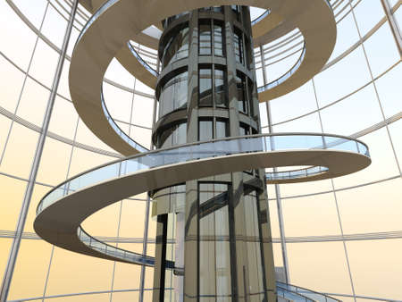 visualisation: Science fiction architecture visualisation. 3D rendered illustration. Stock Photo