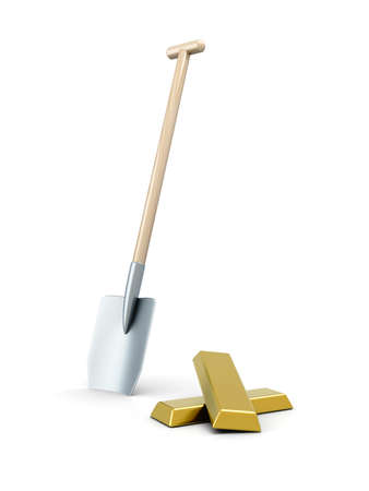 gold bar earn: 3D rendered Illustration. Isolated on white. Digging out the Gold.