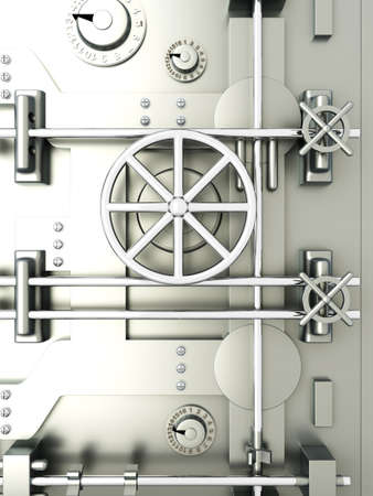 combination safe: 3D rendered Illustration. A bank vault door.