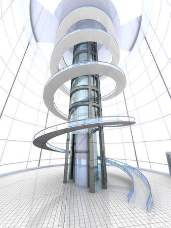Science fiction architecture visualisation. 3D rendered illustration. illustration