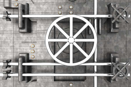 combination lock: 3D rendered Illustration. A bank vault door.
