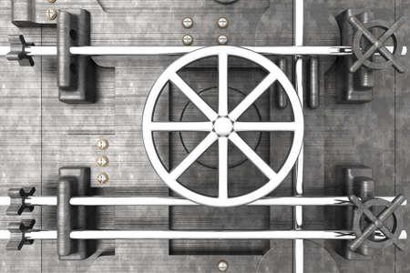 combination lock: 3D rendered Illustration. A bank vault door.
