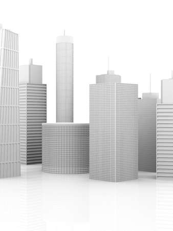 A symbolic city Illustration. 3D render. Skyscrapers isolated on white. illustration