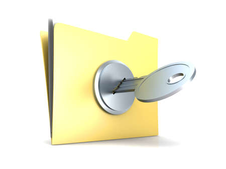 encrypted files icon: 3D rendered Illustration. Isolated on white. Stock Photo