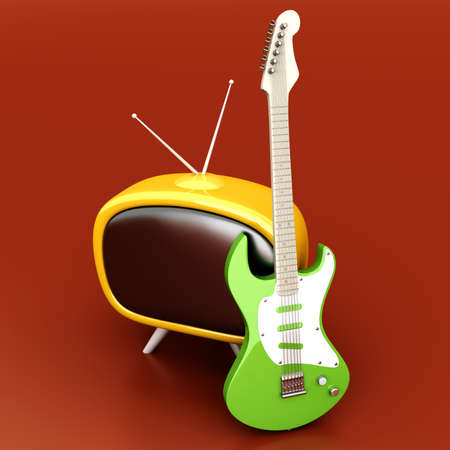 3D rendered Illustration. Retro tube TV with an classic electric Guitar. illustration