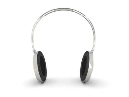 3D rendered Illustration. Chrome / Silver Headphones. Isolated on white. Stock Illustration - 8853330