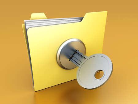 A secured / encrypted Folder. 3D rendered Illustration. Stock Illustration - 8937507