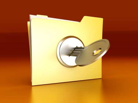 secured: A secured  encrypted Folder. 3D rendered Illustration.