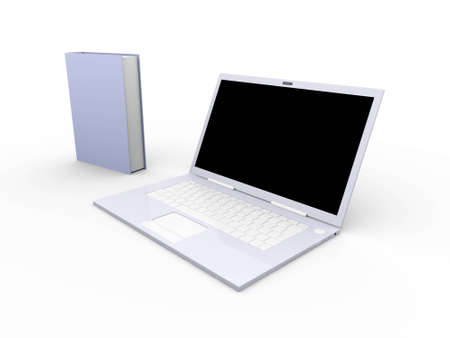 A Laptop with books. 3D rendered illustration. Isolated on white. illustration