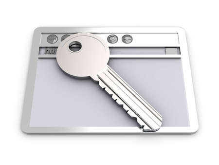 private domain: Browser window with a Key. Secure www connection. 3D rendered Illustration. Isolated on white. Stock Photo
