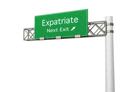 3D rendered Illustration. Highway Sign next exit to expatriation. Isolated on white. Stock Illustration - 8937607