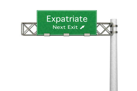 3D rendered Illustration. Highway Sign next exit to expatriation. Isolated on white. Stock Illustration - 8937586