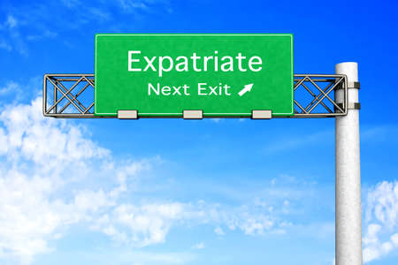 3D rendered Illustration. Highway Sign next exit to expatriation.   Stock Illustration - 8937618