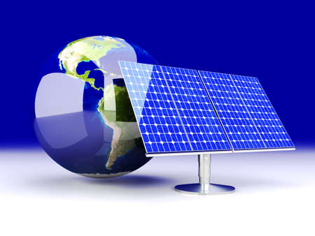 photovoltaic cell: 3D rendered Illustration.