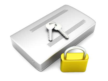 harddrive: 3D rendered Illustration. A secure, external harddrive. Isolated on white.