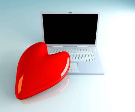 3D Illustration. Heart and a Laptop. illustration