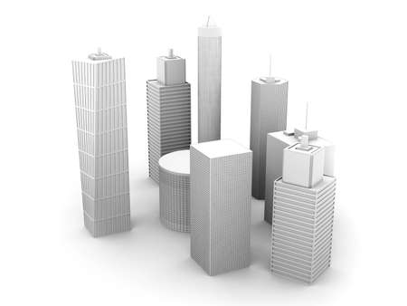 tall building: A symbolic city Illustration. 3D render. Skyscrapers isolated on white.