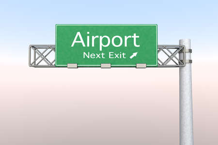 3D rendered Illustration. Highway Sign next exit to the Airport. Stock Illustration - 9022852