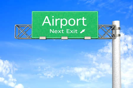 3D rendered Illustration. Highway Sign next exit to the Airport.   Stock Illustration - 9022894
