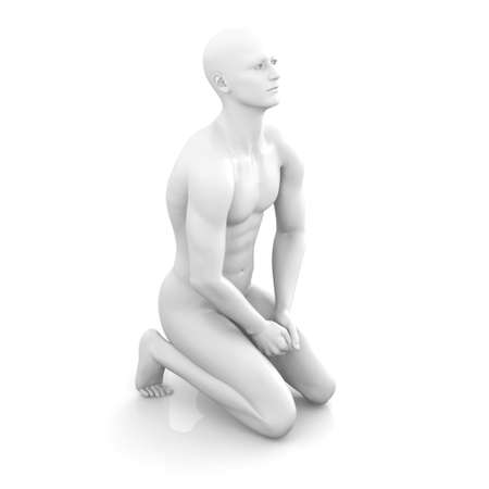 Symvolic 3D rendered illustration of a generic male human meditating in the dragon seat asana. Stock Illustration - 9024169