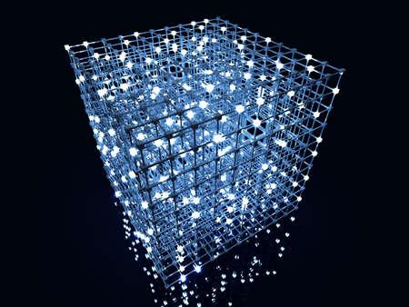 3D rendered Illustration. A glowing grid.  illustration