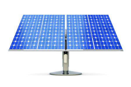 photovoltaic cell: 3D rendered Illustration. A single solar panel, isolated on white.