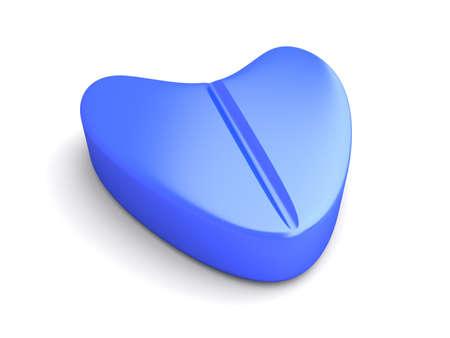 erection: A blue Love Pill. 3D rendered Illustration.