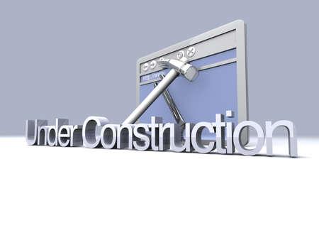 3D Illustration. Website is under construction. Stock Illustration - 9076896