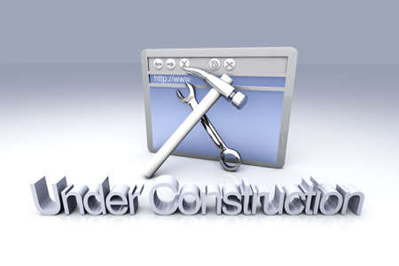 config: 3D Illustration. Website is under construction. Stock Photo