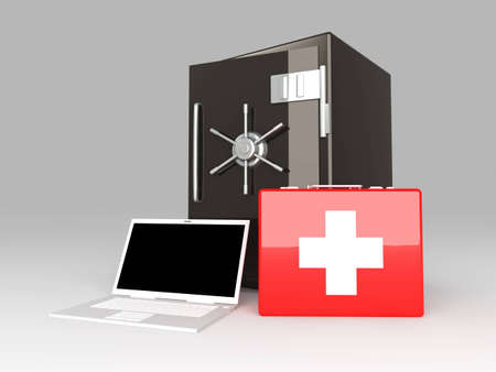 unbalanced: Laptop Security suite. 3D rendered Illustration. Unbalanced lightning.