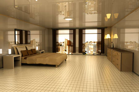 A Bedroom with view on Sao Paulo, Brazil. 3D rendered Illustration. Stock Illustration - 9077080