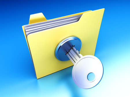 A secured / encrypted Folder. 3D rendered Illustration. Stock Illustration - 9077074
