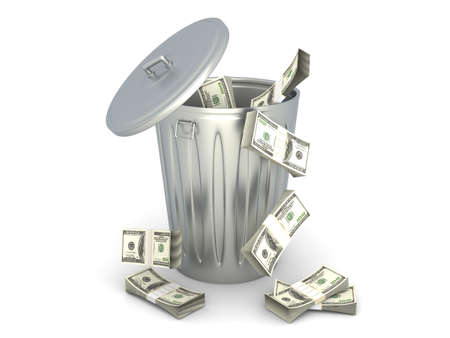 eliminate: Moneytrash can. 3D rendered illustration. Isolated on white.