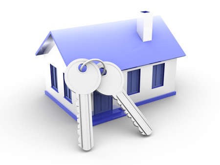 owning: House and a pair of Keys. 3D rendered Illustration. Isolated on white. Stock Photo