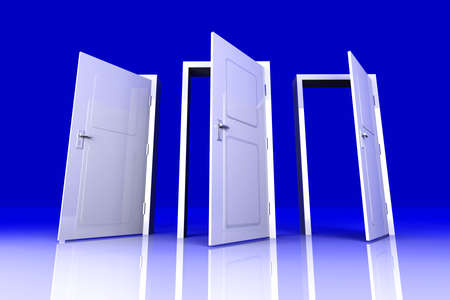 possibility: All Doors are opened for you... 3D rendered Illustration.  Stock Photo
