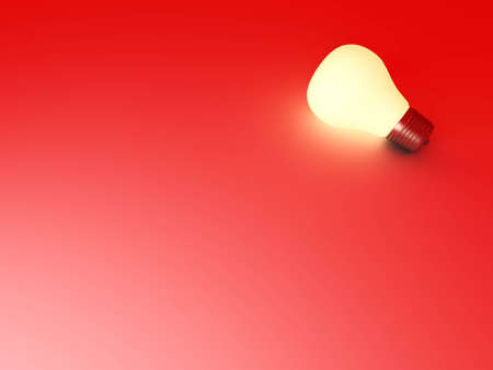 enlightened: A glowing light bulb. 3D rendered Illustration.  Stock Photo