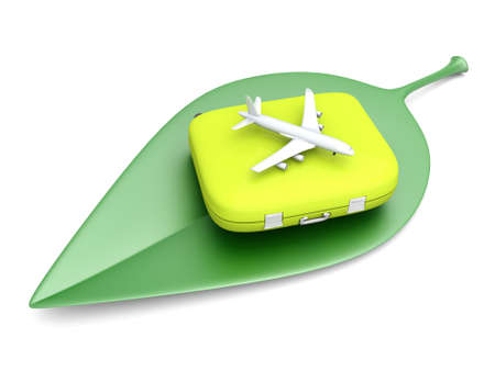 eco tourism: Air travelling. 3D rendered Illustration. Isolated on white.