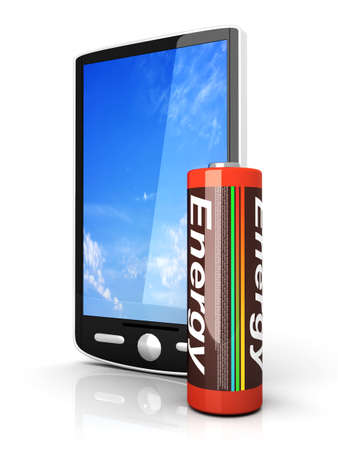 A generic Smartphone with a Battery. 3D rendered illustration isolated on white. Stock Illustration - 9148208