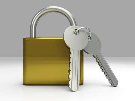 A padlock with keys. 3D rendered Illustration. Stock Illustration - 9148242
