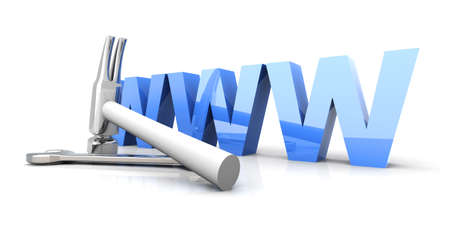 3D Illustration. Website is under construction. Isolated on white. Stock Illustration - 9149701